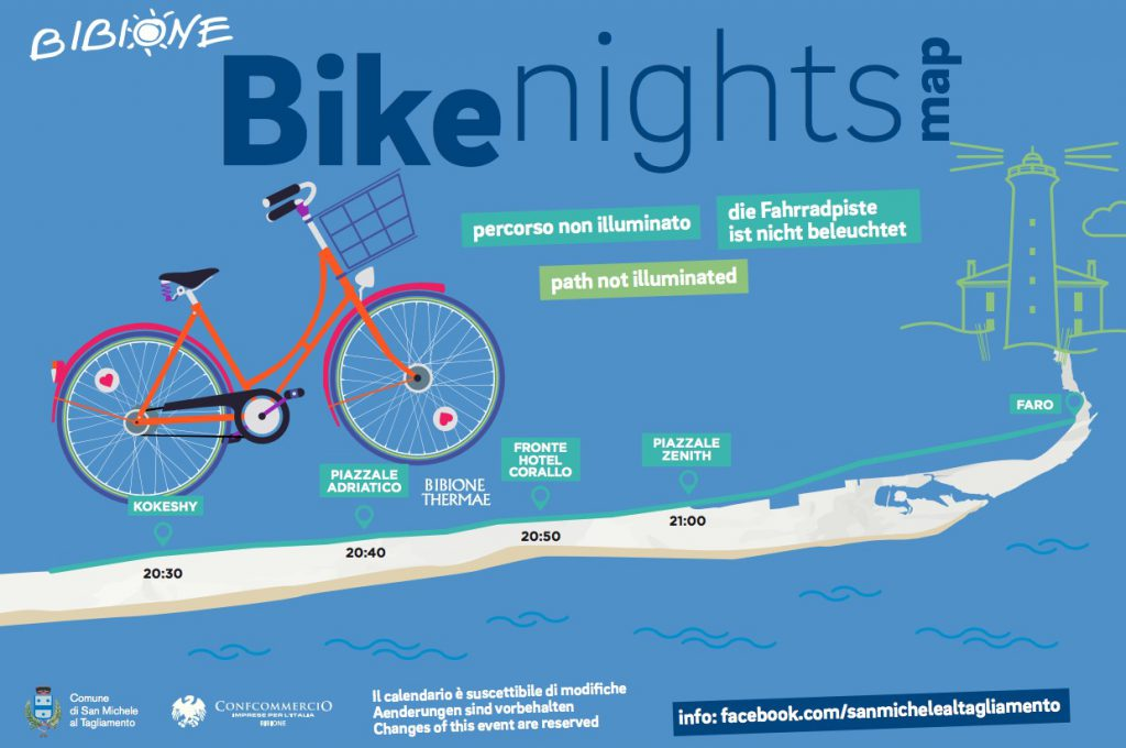 percorso bike nights bibione